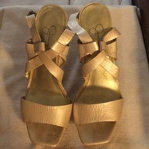 Metallic Gold Jessica Simpson Platform Sandals